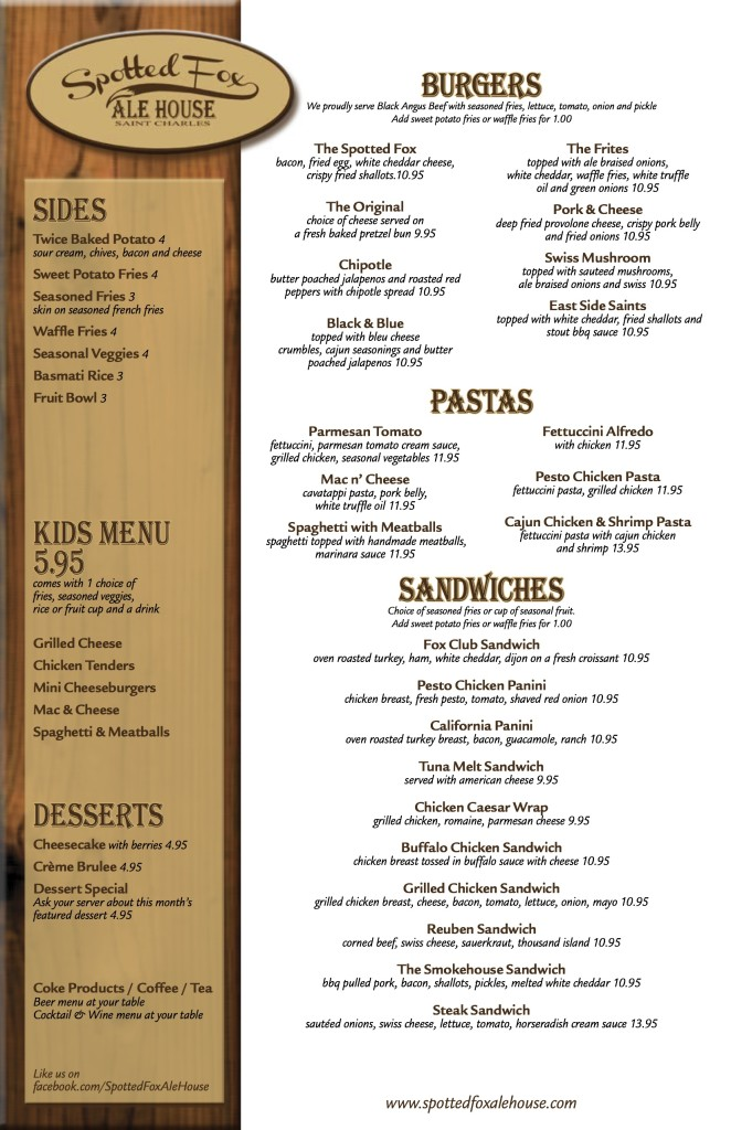 Spotted Fox Menu (8.22.13)